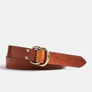 New JCREW Italian Leather D-Ring Belt Dark Redwood